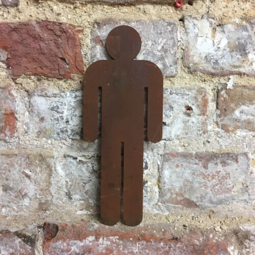 Rusty Man Gentlemen Gents Toilet Door Sign Metal Shop Home bar Pub Cafe Plague