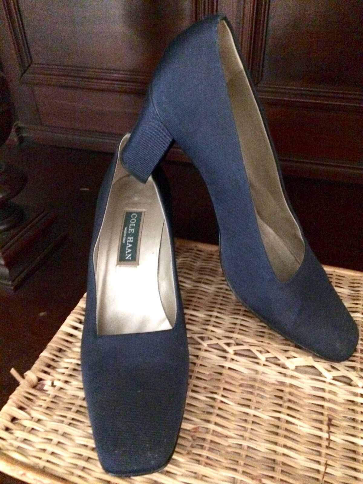 Cole Haan Medium bluee Fabric Leather Soles Pumps HeelsSize 10 B Medium