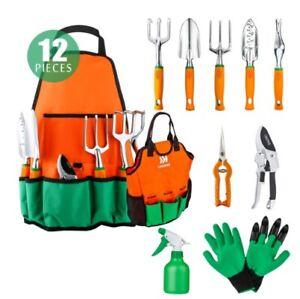 Ukoke UGP02G 12 Piece Aluminum Garden Tool Kit Apron with Storage Pocket