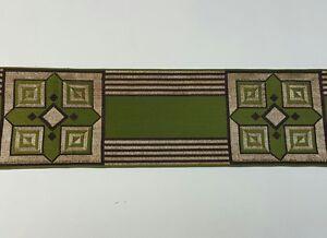 Vintage-Orphrey-Cruz-Diseno-Oro-Hilo-Encendido-Verde-Banda-Vestment-8-9cm