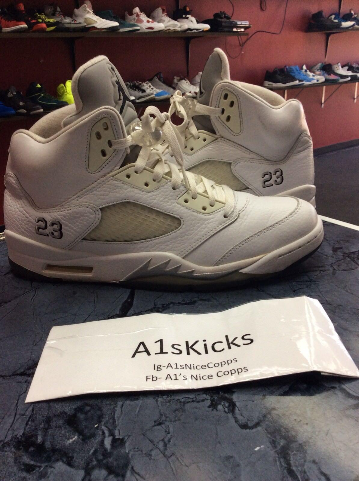 Nike Retro Air Jordan 5 White Metallic Silver 440888 130 Size 5.5