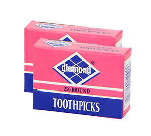 2 Pack Wooden Bamboo Tooth Picks Details about  /Diamond Round Toothpicks 500 Count