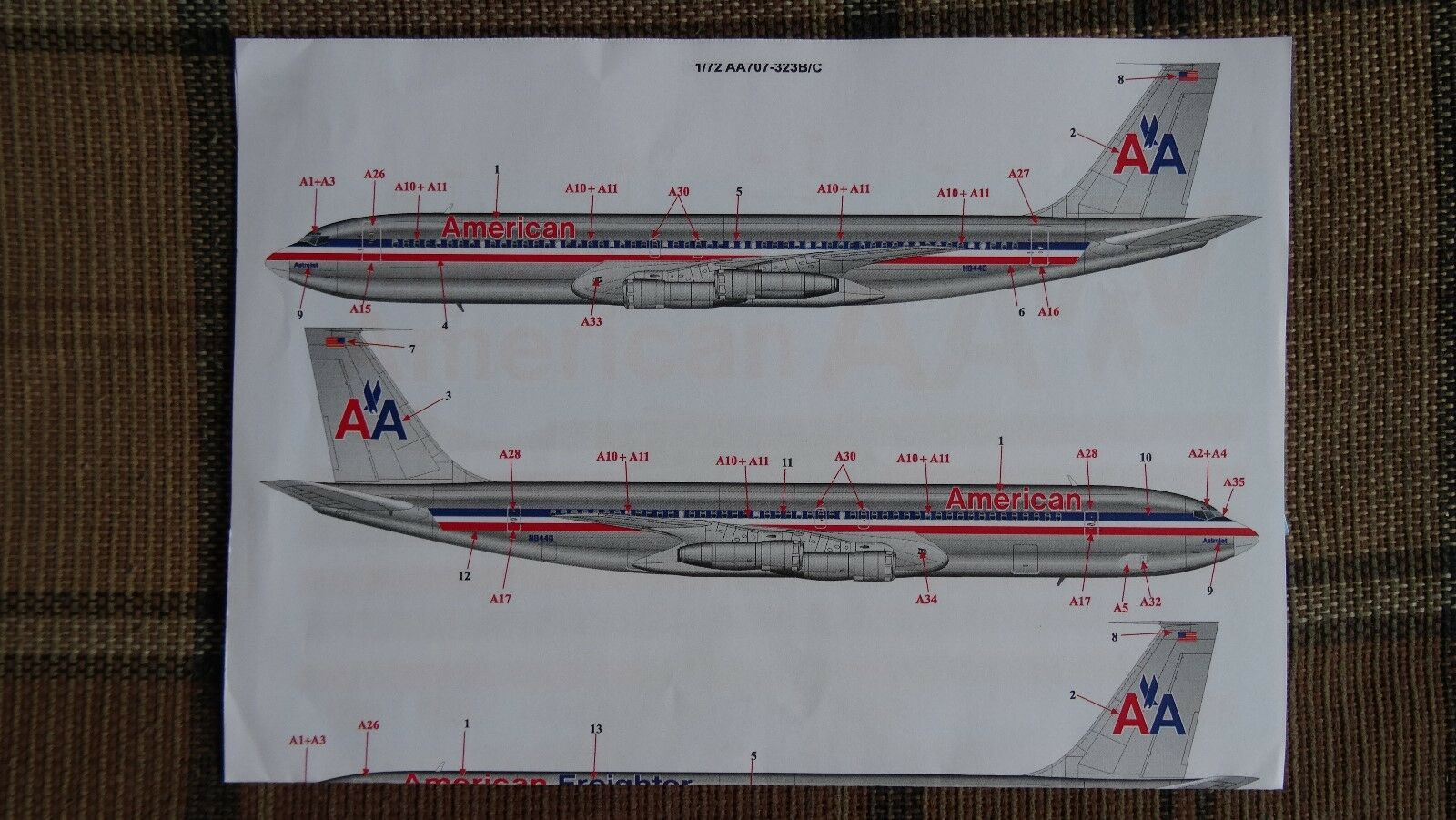Decal  Boeing-707 1 72  AMERICAN ( TwoSix 72AA silk ) for Heller kit