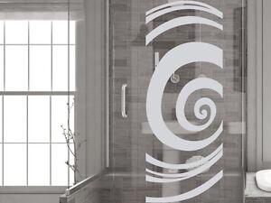 glasdekor folie fensterdekor f r badezimmer kreise spirale rund glast r ebay. Black Bedroom Furniture Sets. Home Design Ideas