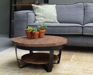 Design Tavolino da Salotto Legno di Mango Metallo Mark Tondo 65x33cm ...