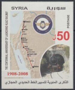Syrien-Syria-2008-Bl-110-Hedschasbahn-Zug-Train-Schienen-Rails-Karte-Map