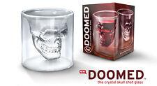 Fred & Friends Halloween Skull Doomed Crystal Shot Glass - Nib