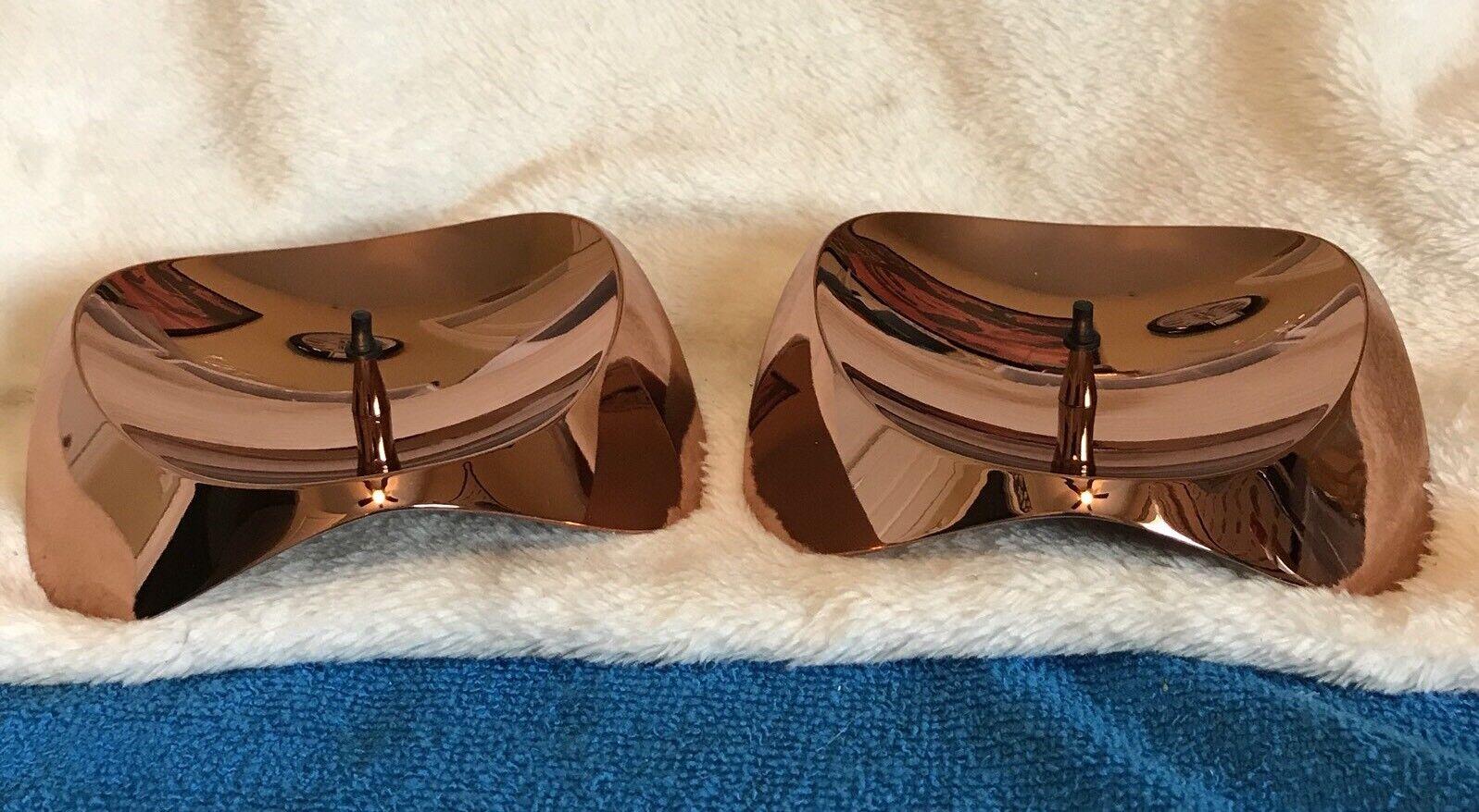 Set of 2 Stelton Papilio Uno Pillar Candle Holders Copper NEWKlaus Rath Design
