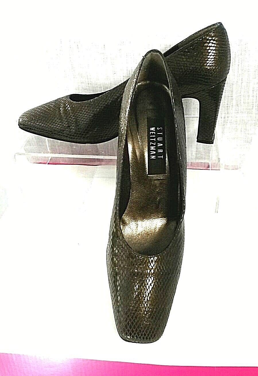 STUART WEITZMAN Women 9.5B Brown Snake Skin Leather High Heel Square Toe Pumps
