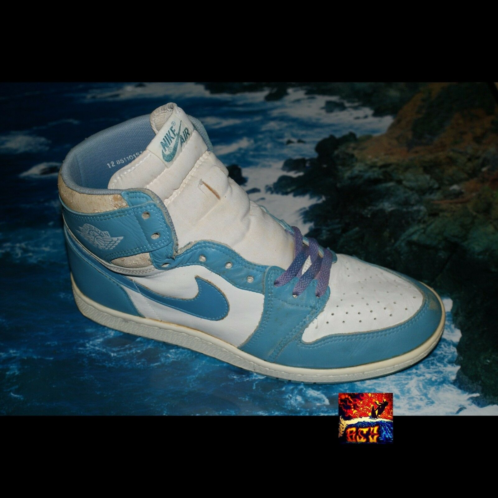 Original 1985 Air Jordan Hi 1  UNC  - UNIVERSITY blueE WHITE - SIZE 12 PreOwned I