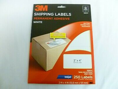 """White Reasonable 3m Shipping Labels 3200-s 250 Count 2"""" X 4"""""""