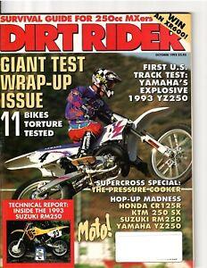 Vintage Magazine Dirt Rider October 1992 Motocross Supercross Jeff Stanton Ward