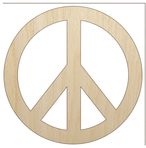 Peace Sign Unfinished Wood Shape Piece Cutout for DIY Craft Projects