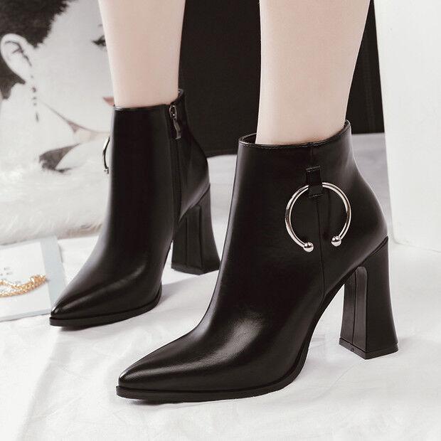 botas stivaletti bassi zapatos stiletto 9 negro  eleganti pelle sintetica 9609