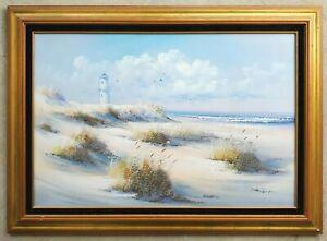 LOOMIS-DEAN-Vintage-Oil-Painting-Lighthouse-Seascape-Beach-Sand-Dunes-Coastal