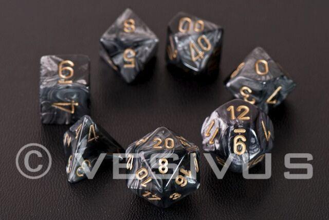 DICE Chessex Lustrous BLACK 7-Dice Set Gray Blue Game d20 d10 d6 RPG D&D 27498