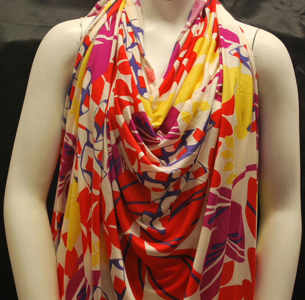 Silk Like Rayon Elastano Jersey knit Fabric  Baby Phat Print Made in Italy