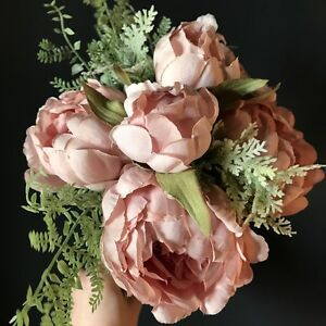 Tied bouquet of dusky pink peonies fern bunch of artificial faux image is loading tied bouquet of dusky pink peonies amp fern mightylinksfo