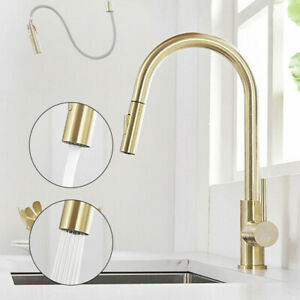 Kitchen-Taps-Pull-Out-Spray-360-Sink-Taps-Swivel-Spout-Mixer-Tap-Brushed-Gold