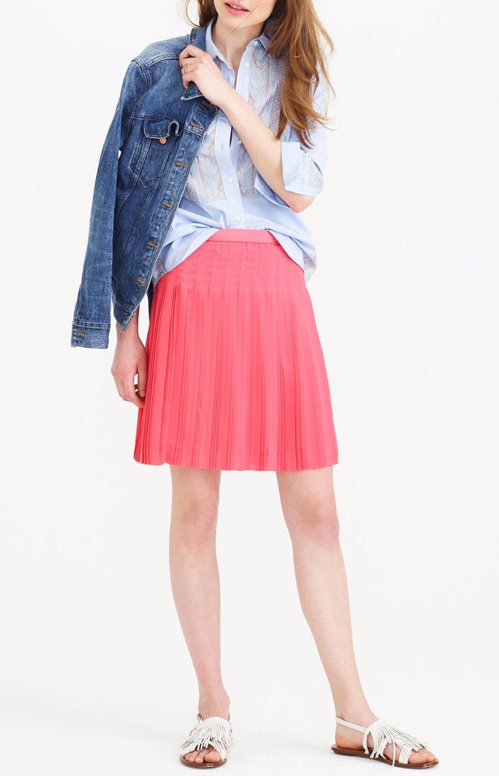 110 New J.Crew Stitched-Down Pleated Mini A-Line Skirt Wildflower Pink 2 XS