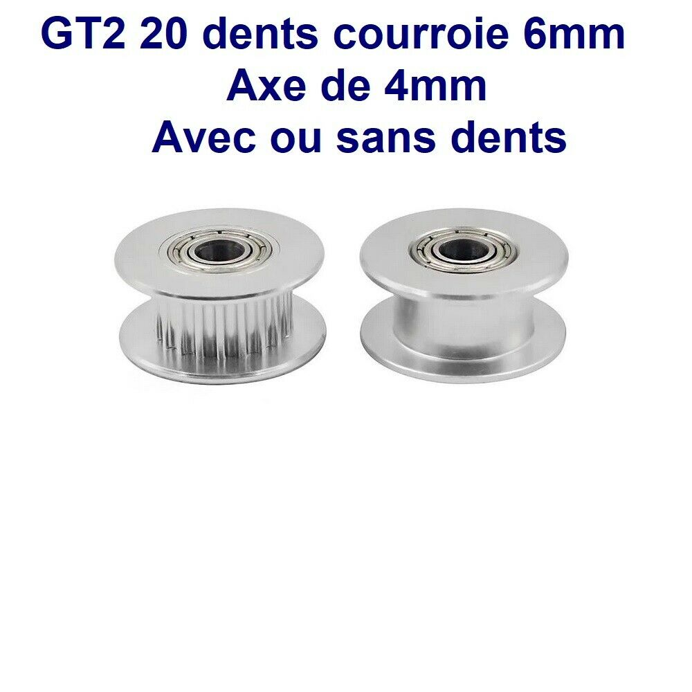 Pulley Synchronous GT2 20 Tooth + Bearing For Axle - 4mm - With Or Without Tooth