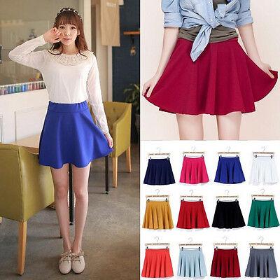 Retro Elegance Cotton Stretch High Waist Plain Skater Flared Pleated Skirt Dress