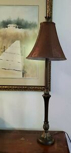 Vintage-Gilt-Hollywood-Regency-Candlestick-Table-Lamp-35-034-Leaves-with-Shade