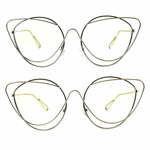 ef7ea175719 Image is loading Womens-Clear-Lens-Runway-Thin-Wire-Rim-Cateye-