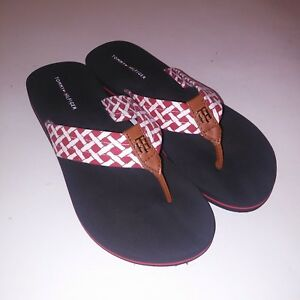bf9f81a0b65d3e Tommy Hilfiger Womens Flip Flops Coven Red Blue Fabric Shoes Sandals ...