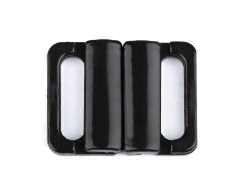 5 Stück Bikiniverschluss Verschluss Zierteil  1,4 cm  schwarz NEUWARE 0410a