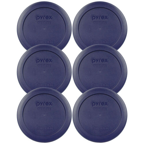 """Pyrex 7200-PC Round 2 Cup 5/"""" Plastic Storage Lid Blue 6 Pk for Glass Bowl New"""