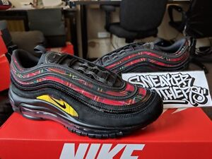 Nike W Women s Air Max 97 SE Tartan Print Plaid Black Red Amarillo ... addacf5354