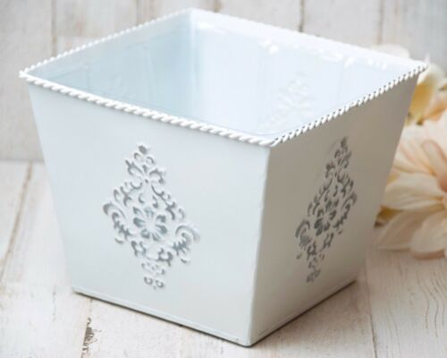 Shabby farmhouse chic white /& silver decorative embossed lined tin planter