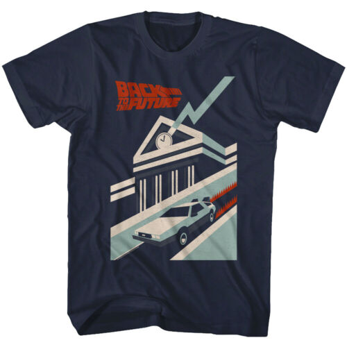 Back to The Future Distressed Deco Art Men/'s T Shirt Clock Tower 80s DeLorean