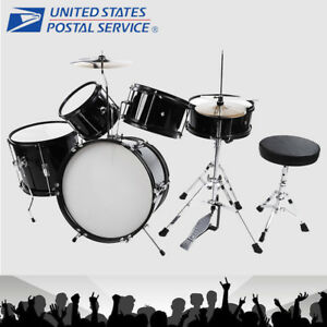 5-Piece-Complete-Drum-Set-Cymbals-Kids-Full-Size-Kit-with-Drum-Stool-Black