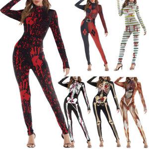 Bone Skeleton Jumpsuit Costume Bodysuit Fancy Halloween