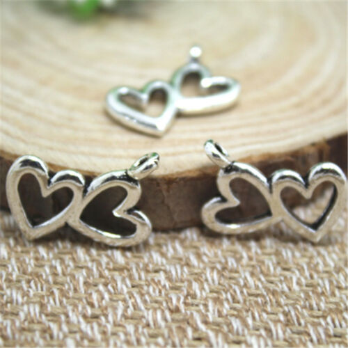 Double Hearts Charm 18x13mm 15pcs Silver tone Hearts Charms Pendants