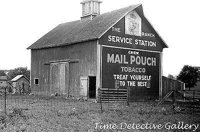 Barn with Mail Pouch Tobacco Ad, Central Ohio - 1938 - Historic Photo Print