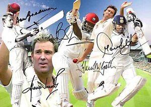 Don-Bradman-Shane-Warne-Lara-Sachin-Tendulkar-cricket-Signed-Autograph-A4-Poster