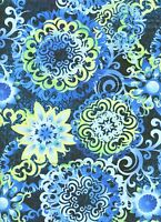 Fabric 2331 Blue Green Yellow Collage Jason Yenter End Of Bolt At 1 Yard