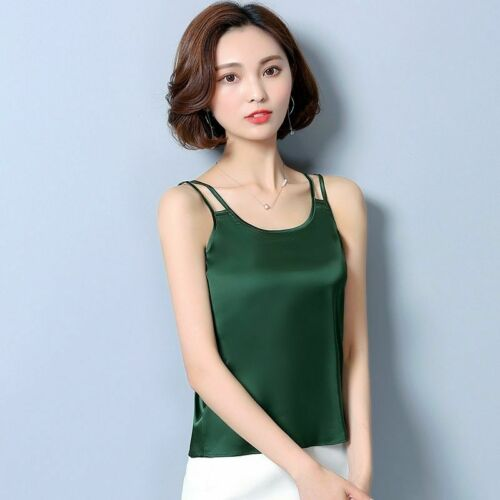 Damen Satin Seidenartig Tanktop Ärmellos Cami T-Shirt Einfarbiges T-Shirt BLUSE