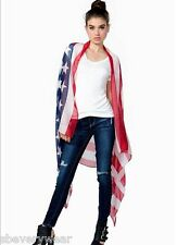 Womens USA American Flag Pareo Sarong Bikini Cover Up Scarf Wrap Stars Stripes