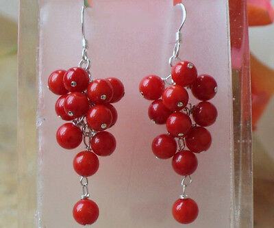 Red Coral Beads Custer Grape White Gold Plated Hook Earrings