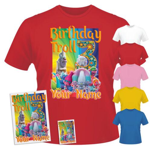 Sticker /& Fridge Magnet Combo Trolls Birthday Personalised T-Shirt