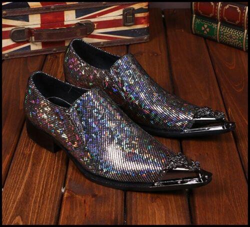 England Fashion Mens Shiny Glitter Metal Pointy Toe Loafers Dress Club Shoes SZ