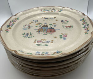 Farm-8-Dinner-Plates-Country-Vintage-Country-Farm-International-China-Company
