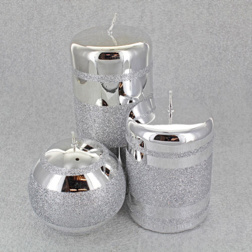 Silver Three Stripes Candles By G Decor