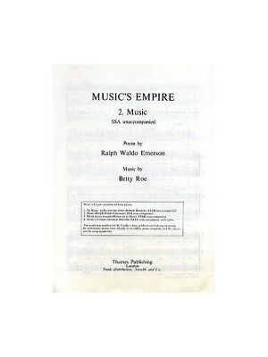 Adroit Betty Roe: Music No.2 Music's Empire Ssa Ssa Vocal Voice Choral Sheet Music Book Latest Technology