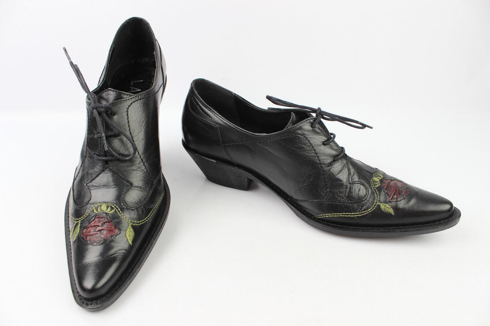 Zapatos de cordones Puntiagudas LASDIN LASDIN LASDIN Cuero Negro Bordado T 38 MUY BUEN ESTADO  varios tamaños