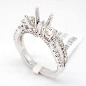 18k White Gold VS2,G 0.76tcw Diamond Three Stone Engagement Semi Mount Ring 6